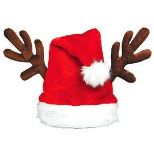Amscan Sombrero de Papá Noel rojo con cuernos de reno   accesorio de Navidad   6 unidades