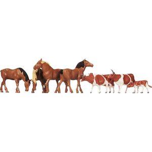 Faller 154002Vacas & Horses Brn 8/HO Scale Figure Set