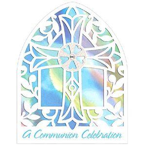 Amscan Invitaciones para comunión, tamaño grande, 16 x 12 cm, 120 unidades, color azul