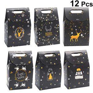 UPKOCH Bolsa de Regalo de Navidad Cajas de Papel artesanales Reutilizables para Regalos Dulces Paquete de Galletas Tema de Navidad Bolsas de Envoltura de Regalos Grandes Vacaciones 12 Piezas