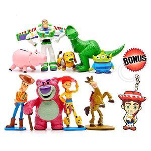 Pantysha Adornos para tartas de Toy Story, cifras de acción de dibujos animados, paquete de 9 cifras de fiesta de Toy Story de primera calidad, suministros para fiestas de cumpleaños para niños y adultos + llavero Jessie recuerdos de fiesta de Toy Story