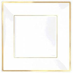 amscan Elegant Square Plastic Plate Party Tableware, 8 Pieces, Made from Plastic, White w/Gold Trim, 10