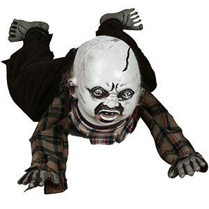 QLDJ Halloween Fantasma Colgante, Crawl Esqueleto Cementerio Embrujada Sombrío La Muerte Voz Control Sonido Intermitente El Mal Rojo Led Ojos-Fantasma 80x35cm(31x14inch)