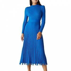 discountstore145 Vestidos para Lady O Neck Tight Jersey de punto plisado Midi para la vida diaria, Azul Royal, Large