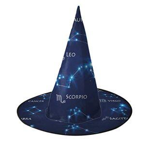 WUTMVING Sombrero de Mago Hombres Adultos Los Doce Signos del zodíaco en la constelación Sombrero de Halloween para niños Sombrero de Halloween Adulto para decoración de Fiesta Accesorio de