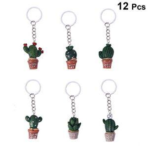 Amosfun 12pcs simulación Cactus Llavero Cactus Llavero Tropical decoración del Partido Colorido Llavero Encanto Resina Titular Clave Regalo de cumpleaños (patrón Surtido)