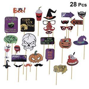 PRETYZOOM Accesorios de Fotomatón de Halloween Sombrero de Mago de Calavera de Calabaza Creativa Accesorios de Selfie Decoraciones de Fotografía Suministros para Fiestas (28 Piezas)