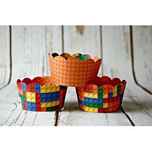 We Bring The Party Mini bloques Tarta Cupcake Wrappers, reversible Wraps, bloques de apilamiento Cupcake Decoración Brillante (Juego de 6)