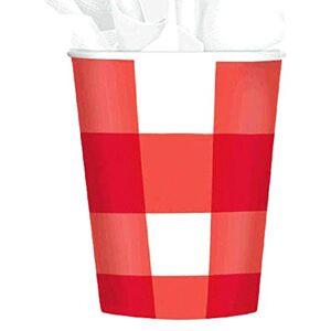 Amscan Vasos de Papel Desechables para pícnic, diseño de Cuadros, Color Rojo, Rojo/Blanco, 8 Pieces