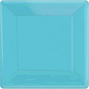 amscan Disposble Party Platos de vajilla Cuadrados, Azul Caribbean, 25.4 cm