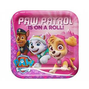 Nickelodeon American Greetings Paw Patrol Pink Square Plate (8 Count), 9
