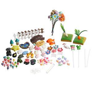 Cabilock 117Pcs Decoraciones de Jardín de Hadas en Miniatura DIY Micro Paisaje Miniatura Mini Animales Setas Y Cerca Jardín de Hadas Casa de Muñecas Miniatura