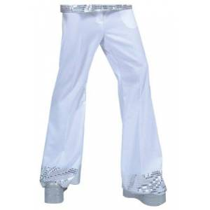 Funny Fashions White Sequin Cuff Disco Pants Large