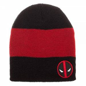 Marvel Deadpool Patch Rojo y Negro Slouch - Gorro Knit Costume