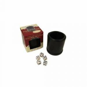 Classic Game Collection Leather Dice Cup with Five Dice