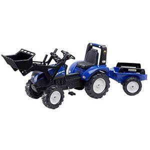 Falk New Holland Tractor de pedal con cargador de pie y remolque FA3090M