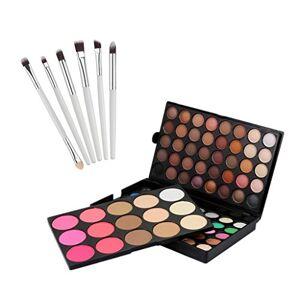 MagiDeal 95 Colores Paleta de Sombra de Ojo de Reflejo Cosmética Mate + 6 Piezas Pinceles de Maquillaje