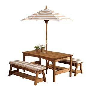 KidKraft 00500 Juego de mesa y 2 bancos de madera para niños con sombrilla y cojines, muebles para jardín y exterior al aire libre Rayas marrones y blancas