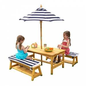 KidKraft Outdoor table and Chair Set with Cushions and Navy Stripes