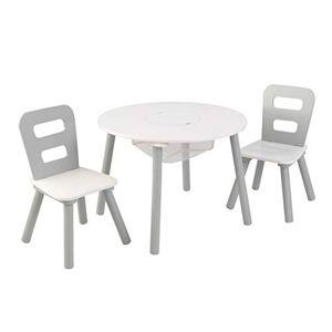 KidKraft 26166 Juego Infantil de Mesa Redonda y 2 sillas con Almacenamiento de Madera, Muebles para Salas de Juego y Dormitorio de niños Gris y Blanco