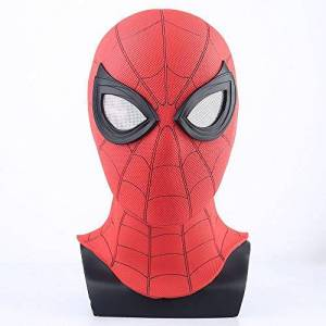 ke Spider-Man: Far from Home Mask Head Cover Black Mask Shadow Sneak Battle Suit Cosplay Spider-Man (Red)