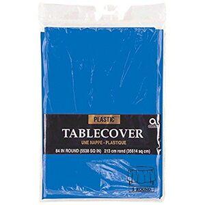 Amscan Mantel Redondo de plástico desechable para mesas Redondas de 7', Marine Blue, 2.13 m