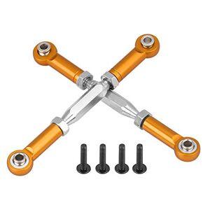 Drfeify Aleación de Aluminio Varillas de Articulación del Brazo de Suspensiónpara HIMOTO E10MTL E10MT E10BP 1/10 RC Coche(Oro)