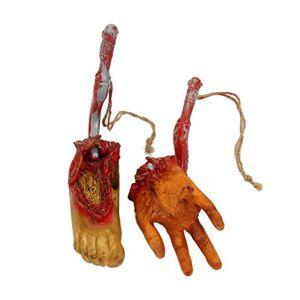 LIOOBO 2 Piezas de Miedo sangrienta simulación de Manos y pies Realista Horrible Prop Halloween Cuerpo Cortado Halloween Prop para decoración de casa embrujada