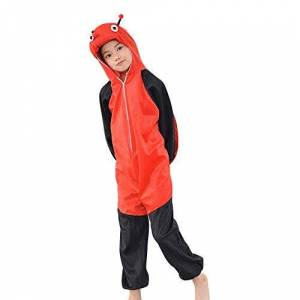 MISWSU Animal Pyjamas Costume Ladybug Cosplay Jumpsuit para niños pequeños (Rojo, 160)