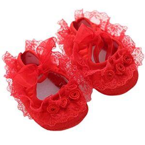 Fenical la Princesa del cordón de Zapatos Rosa para Las niñas recién Nacidas de Entre 0-1 tamaño 11 Rojo
