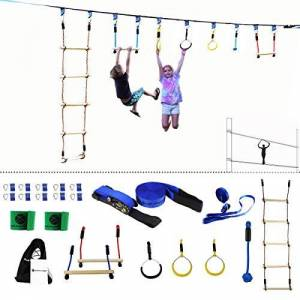 Gentle Booms Sports Ninja Line Obstacle Course Kit Monkey Bar Kit 40 pies, Kids Slackline Colgante Obstacle Course Set, Extreme Training Equipment for Outdoor Play