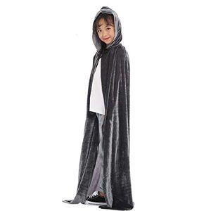 KoKoHouse Capa de Terciopelo con Capucha para Halloween, para niños, niñas, Gris, M Fits to Height 100-120cm