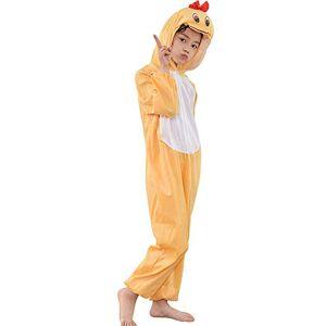 MISWSU Animal Pyjamas Costume Duck Cosplay Jumpsuit para niños pequeños (Amarillo, 170)