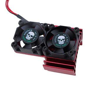 REhobby RC Motor Ventilador Radiador Radiador de Aluminio Disipador de Calor Doble Ventilador de Refrigeración para Coche 1/10 RC 540/550 Track HSP HPI Wltoys Himoto Tamiya (Rojo)