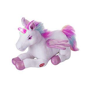 Dazmers Peluche de unicornio con alas aleteadas, juguete musical con luces mágicas y sonidos (rosa)