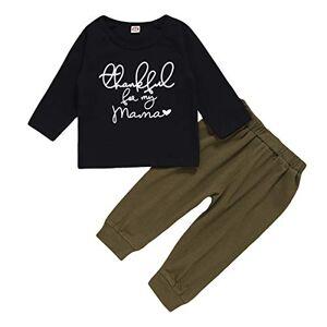 Camidy 1-4T Conjunto de Ropa de Moda para Niñas Y Niños Camisa de Manga Larga + Pantalones Ropa Chándal