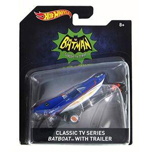 Mattel Batboat clásico de Batman con Remolque, Azul con Blanco DKL20A  Vehículo de Escala 1/64