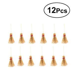 SUPVOX Straw Craft Decoration Miniatura Mini Escobas Artificiales con Brujas de Cuerda Roja Accesorio para Fiesta de Halloween 12Pcs