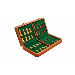 CHESSBAZAAR Traveling Hand Made Magnetic Staunton Chess Set Shesham Wood 14 X 14 Inches