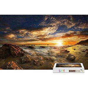 Sim-Puzzle Rompecabezas de Madera con Pegamento, Piedras de mar atardeceres, Nubes de Sol, 34.4 x 22.6 Pulgadas, 1500 Piezas
