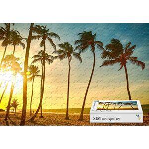Sim-Puzzle Materiales de Madera, Buen Rompecabezas para Jugadores de Rompecabezas – Tropical Beach Sunset Palm, 34.4 x 22.6 Pulgadas – 1500 Piezas Rompecabezas