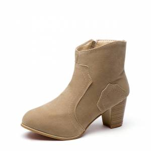 Yoins Albaricoque Round Toe Chunky Heel Frosted Boots