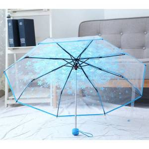 Newchic SaicleHome PEVA romántica flores de cerezo paraguas transparente paraguas plegable Sun Rain Gear