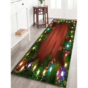 Zaful Alfombra de piso de absorción de agua de luces de Navidad