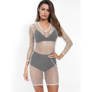 Zaful Mini Vestido Encubierto de Malla Escotada con Escote Pronunciado en Espalda