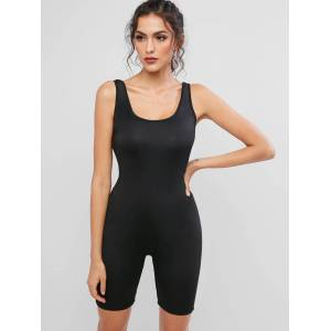 Zaful Elástico Scoop Neck Unitard Tank Biker Romper