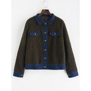 Zaful Faux Pockets chaqueta de piel sintética