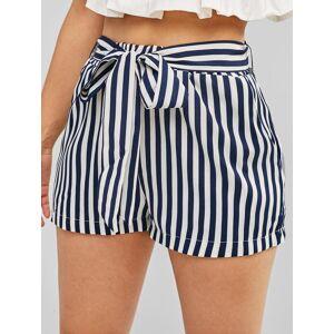 Zaful Pantalones cortos con cinturón de cintura alta a rayas