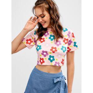 Zaful Camiseta de manga corta con estampado floral
