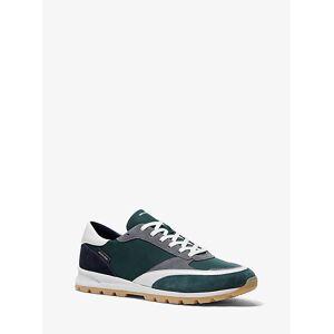Michael Kors Mens MK Liam Nylon Gabardine and Suede Sneaker - Spruce - Michael Kors